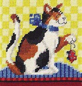 janlynn needlepoint kit playtime for kitty cat