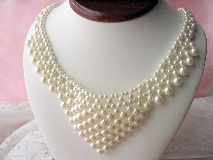 Vintage Collectible Faux Pearl Bib Collar Necklace