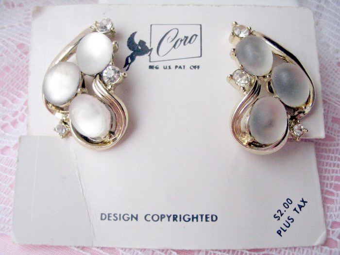 Coro rhinestone moonstone earrings vintage