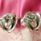 Rose Earrings clip Vintage Jewelry flower