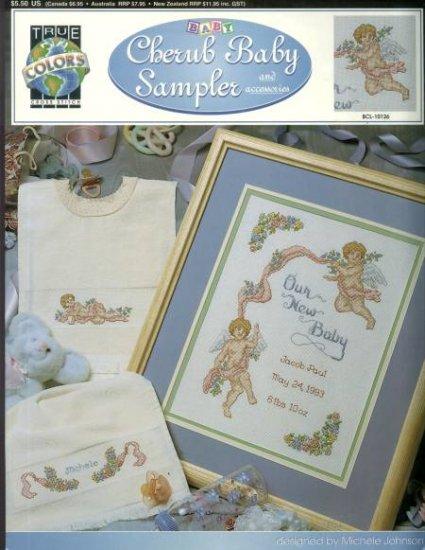 Cherub baby sampler true colors new cross stitch leaflet