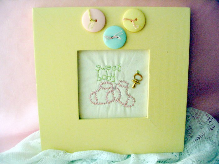 Handmade embroidery Baby Girl picture framed