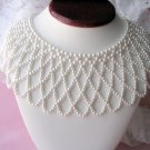 Vintage Wide Faux Pearl Bib Necklace