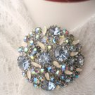 Signed ART Blue Aurora Borealis Rhinestone Pin