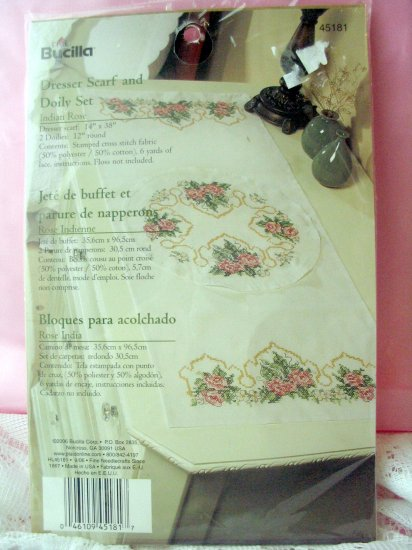 Bucilla Stamped Cross Stitch & Embroidery Indian Rose