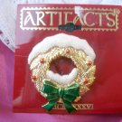Snowy Christmas wreath pin by JJ - goldtone
