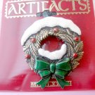 Snowy Christmas wreath pin by JJ - brass
