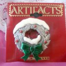 Snowy Christmas wreath pin by JJ - pewter