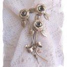 Beau Sterling triple rose vintage pin