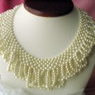 VINTAGE CREAMY COLLAR FAUX PEARLS BIB NECKLACE