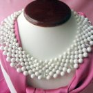 Vintge Japan signed faux pearl bib necklace with rhinestones