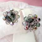 Vintage Coro Crystal Clip On Earrings Glass Aurora Beads