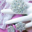 Vintage Aurora Crystal Pin & Earrings Rhinestone DEMI