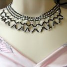 Black Iridescent vintage jewelry Collar necklace