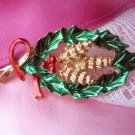 Gerry's Holly Pinecone Christmas Pin Vintage