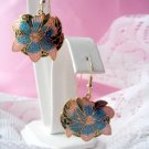 Vintage Colorful Cloisonne Floral Earring Pierced