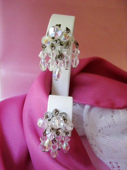Vintage earrings dangling crystal glass beads