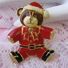 Christmas enamel SANTA TEDDY BEAR pin brooch