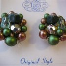 Beaded Clip Vintage Signed Earrings by Tara - green