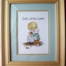 God's Little Lamb Completed Cross Stitch Framed Picture
