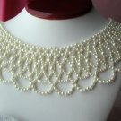 Vintage Fancy Faux Pearl Collar Bib Necklace