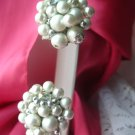 White Beaded Vintage Signed Japan Clip Earrings Vintage Estate Antique
