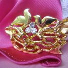 Vintage Signed Rhinestone Bird in Nest Brooch Pin