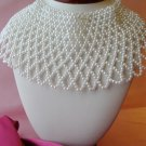 Vintage jewelry,wide,faux pearl,lacy,bib collar,necklace,intricate,
