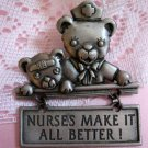 JJ,Bear,Nurses Make it All Better,Pewter,Pin,Signed,nurse,nurse gift,