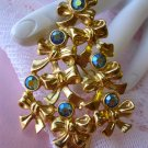 Avon,Christmas Tree,Pin,Rhinestones,Signed,Book Piece