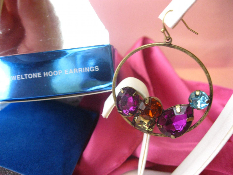 Avon Jeweltone,avon rhinestone earriangs,Hoop Earrings,earrings,signed,