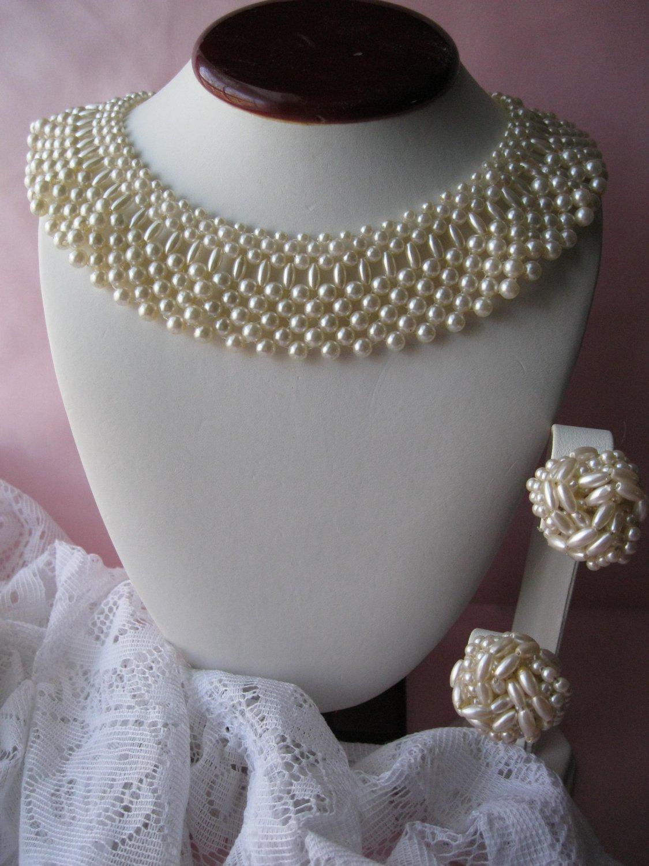 pearl bib necklace,bib necklace,jewelry set,faux pearl,necklace,vintage necklace,vintage earrings