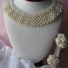 Beautiful Faux Pearl Bib Collar Necklace & Earrings Set