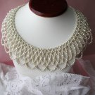 Vintage bib necklace,pearl necklace,bib necklace,lacy necklace,vintage jewelry