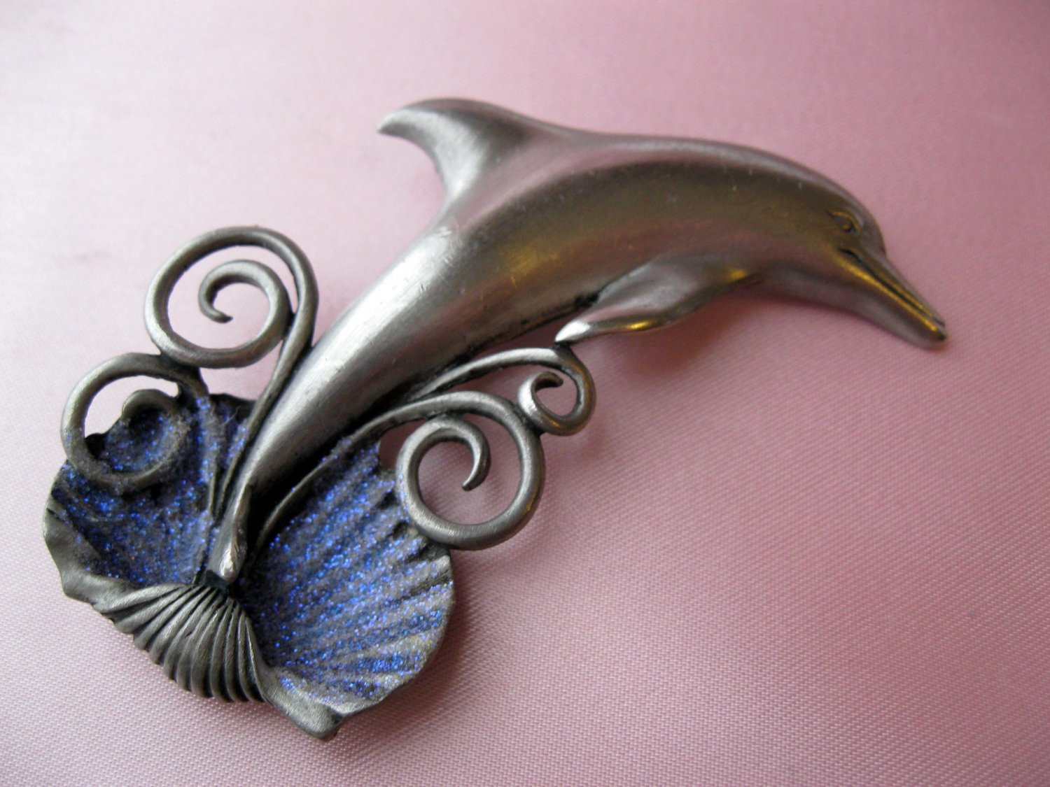 Pewter,Signed,DOLPHIN Pin,jj,figural pin,pewter pin,