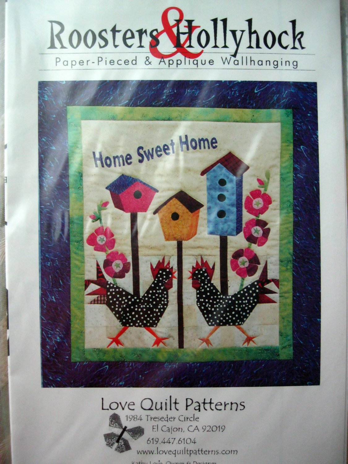 ROOSTERS & HOLLYHOCKS quilt pattern from Love Quilt