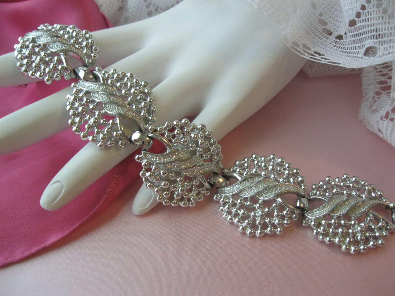 Vintage bracelet,emmons,signed bracelet,Silver Tone,Chunky,60's Bracelet