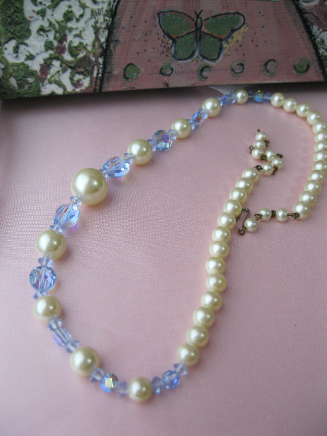 Vintage Blue Glass & Imitation Pearl Beaded Necklace