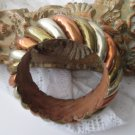 Silver Copper Bangle Bracelet Collectable Wood Unique Jewelry