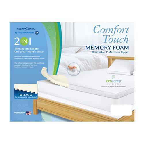 "Comfort Touch� Memory Foam / Microfiber Reversible Mattress Topper (3"") - QUEEN"