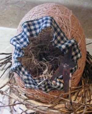 Country Style Primitive Handmade Easter Egg Basket