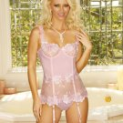 Pink Bustier Set with Boning (Size 34) Garters & More