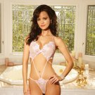 Embroidered Strappy Teddy Thong Back (One Size) Pink