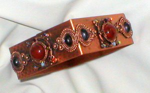 Hammered Solid Copper Square Bracelet with Cabochons & Crystals