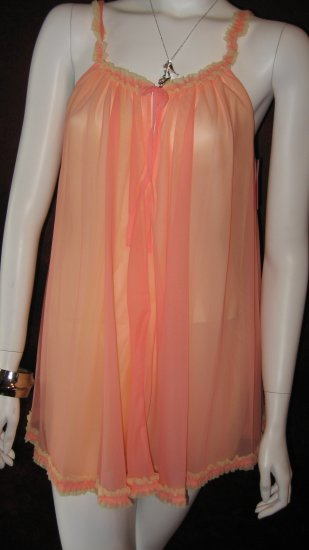 Betsey Johnson Peach and Yellow Babydoll negligee dress