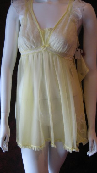 Betsey Johnson Yellow Babydoll negligee dress with matching thong.