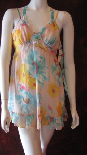 Betsey Johnson Multicolor shimmer chiffon babydoll negligee dress