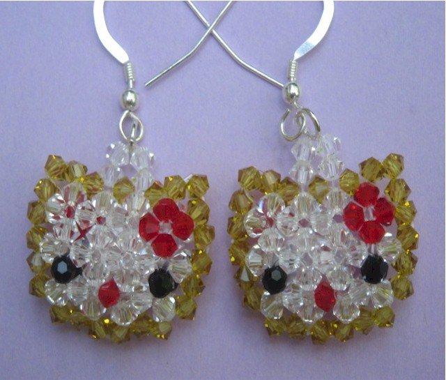 Swarovski Crystal Hello Kitty Silver Earrings - SET001