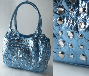 Metallic Handbags with Studded Front