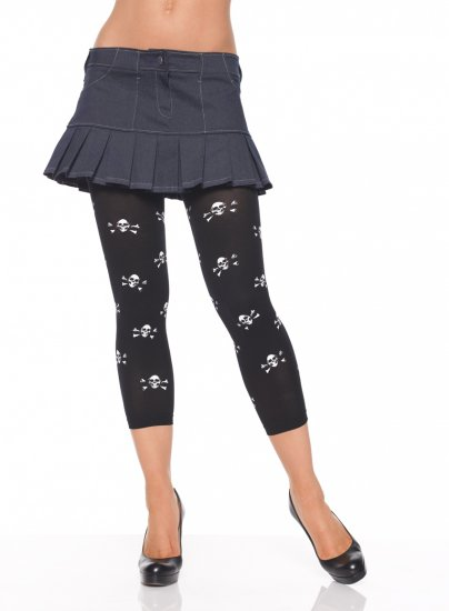 Opaque Footless Tights w/ Skull prints-Black